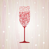 Lettering happy new year in the form of a glass of champagne — Stock Vector