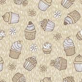 Padrão sem emenda de cupcake bege — Vetor de Stock