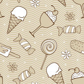 Beige desserts seamless pattern — Stock Vector