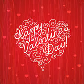 Lettering Happy Valentine's Day in the form of heart — Stock Vector