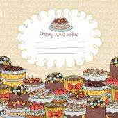 Card with Many Cakes on a Background With Hand-Drawn Element — ストックベクタ