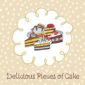 Card with various cupcakes on a beige background with hand — Stock Vector