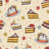 Color piece of cake seamless pattern — Stock Vector