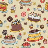 Hand-drawn Dessert Seamless Pattern — Stock Vector