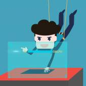 Hackers abseiling steal data from computer — Stock Vector
