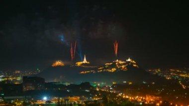 Firework festival at phetchaburi province, thailand — Stock Video