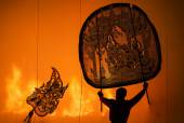 RATCHBURI, THAILAND - APRIL 13: Large Shadow Play is performed a — Stock Photo