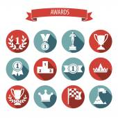 Set of white vector award success and victory flat icons on colo — Stock Vector
