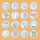 Set of household appliances flat icons on colorful round web but — Stock Vector