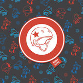 Roller skate seamless pattern with roller derby icon — Stockvektor