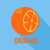 Orange icon in flat design with long shadows — Stock vektor