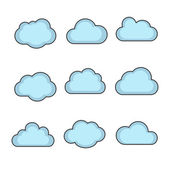 Vector cloud shapes set, cloud icons for cloud computing for web — Stock Vector