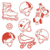 Set of roller skates helmets wheel — Stockvektor
