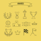 Award success and victory icons — Stock Vector