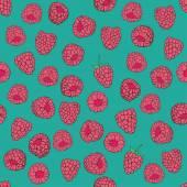 Pattern of raspberries — Stock Vector