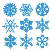 Snowflake icons set,vector illustration on white background — Stock Vector