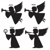 Silhouettes of angels — Stock Vector
