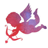 Watercolor silhouette of an angel.watercolor painting on white b — Vector de stock