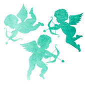 Watercolor silhouettes of angels — Stockvektor