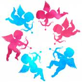 Watercolor silhouettes of angels — Stockvector