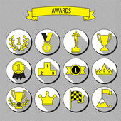 Set of vector award success and victory flat icons on round web  — Stock Vector