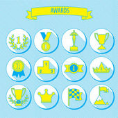Set of vector award success and victory flat icons on round web buttons with trophies cups ribbons crown diadem medals medallions wreath and a podium — Stockvector