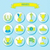 Set of vector award success and victory flat icons on round web buttons with trophies cups ribbons crown diadem medals medallions wreath and a podium — Stock Vector