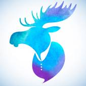 Moose head.Watercolor silhouette — Stock Vector