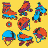Set of roller skates helmets wheel — Stock vektor