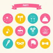 Party and Celebration icon set.Vector silhouette illustration — Vettoriale Stock