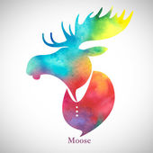 Moose head.Watercolor silhouette — Stock Vector