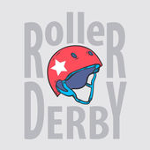 Roller derby helmet typography, t-shirt graphics, vectors — 图库矢量图片