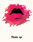 Lips painted in watercolor. Print of lips. Vector illustration — Stock Vector
