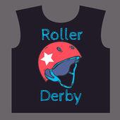 Roller derby helmet typography, t-shirt graphics, vectors — Stock Vector