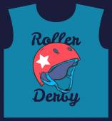 Roller derby helmet typography, t-shirt graphics, vectors — Stock Vector