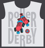 Roller skate and roller derby graphic design for t-shirt — Stock Vector