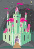 Magical fabulous cartoon castle — Vetor de Stock
