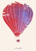 Watercolor vintage hot air balloon.Celebration festive backgroun — Stock Vector