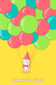 Young man holding a lot of colorful balloons — Stock Vector