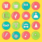 Party and Celebration icon set.Vector silhouette illustration — Cтоковый вектор