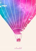 Watercolor vintage hot air balloon.Celebration festive background with balloons.Perfect for invitations,posters and cards — Stok Vektör