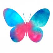 Colorful pink-red watercolor butterfly — Stock Vector