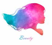 Silhouette head with watercolor hair.Vector illustration of woman beauty salon — ストックベクタ