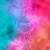 Abstract Vector Watercolor Illustration with connecting dots,space background with constellation — Stock Vector