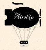 Vintage fairy airship. Vector silhouette — Stock Vector