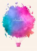 Watercolor vintage hot air balloon.Celebration festive background.Perfect for invitations,posters and cards — Stock Vector