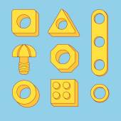 Set of tools: Screws and Nuts. Construction Hardware: Bolts, Nuts and Spacers, isolated vector elements for your design — Stock Vector