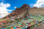 Sutra streamers in Tibet — Stock Photo