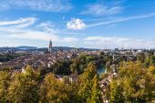 Panrama view of Berne old town from mountain top — Stock Photo