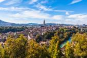 Panorama view of Berne old town from mountain top — Stock Photo